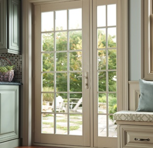 Tuscany Series vinyl single panel out-swing patio door with sidelite